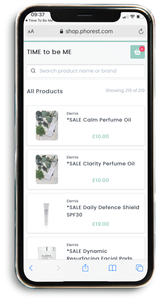 Mobile View of Shop